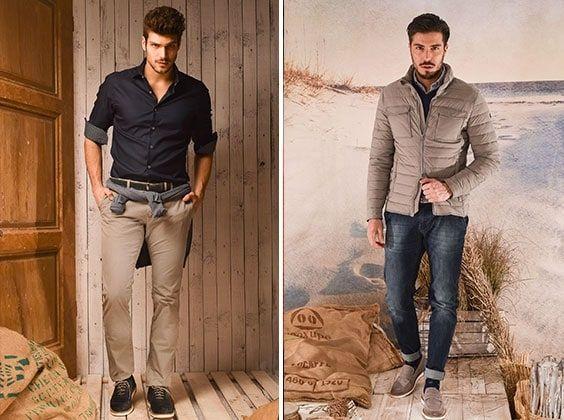 a7f9063736 E di abbigliamento business casual uomo si parla anche con la collezione di  pantaloni chino: grigi e blu si alternano per creare un insieme perfetto  per ...